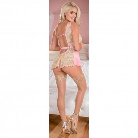Exposed - Deep Plunge Belted Baby Doll Set - Pink - L/X 2 Product Image