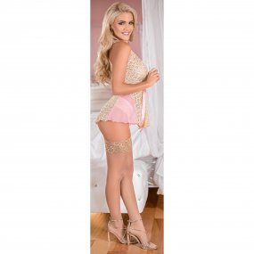 Exposed - Deep Plunge Belted Baby Doll Set - Pink - Queen 1 Product Image