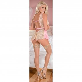 Exposed - Deep Plunge Belted Baby Doll Set - Pink - Queen 2 Product Image