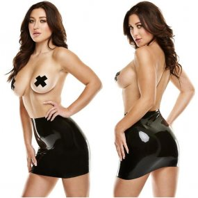 Latexwear: Premium Latex Mini Skirt with Pasties - Black - S/M 1 Product Image