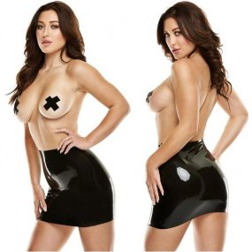 Latexwear: Premium Latex Mini Skirt with Pasties - Black - M/L 1 Product Image