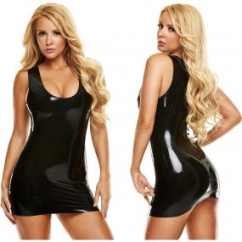 Latexwear: Premium Mini Dress - Black - S/M 1 Product Image