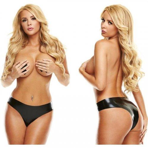Latexwear: Premium Latex Brazilian Bikini - Black - S/M 1 Product Image