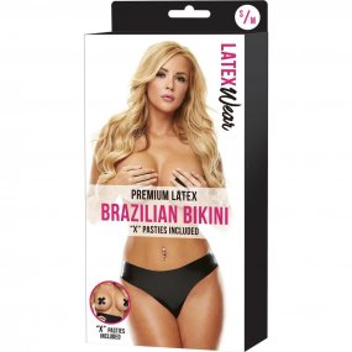 Latexwear: Premium Latex Brazilian Bikini - Black - S/M 2 Product Image