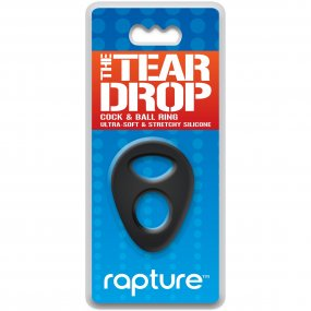 The Tear Drop Premium Silicone Cock & Ball Ring - Black 1 Product Image