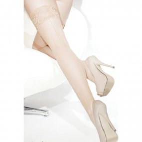 Coquette Thigh High Fishnet Stay Up Seam Stockings - Nude - O/S 1 Product Image