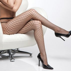 Coquette Fishnet Pantyhose - Black - O/S 1 Product Image