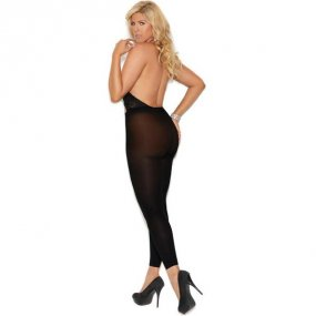 Sexy Criss-Cross Detail Lace Opaque Halter Neck Footless Body Stocking - Black - Queen 2 Product Image