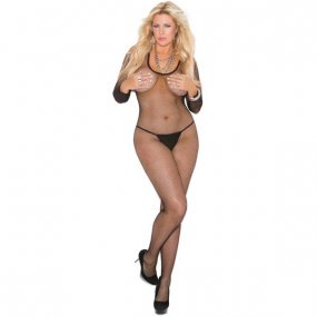 Long Sleeve Fishnet Open Crotch Bodystocking - Black - Queen 1 Product Image