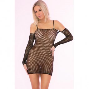 Bad Intentions Black Fishnet Dress - One Size 1 Product Image