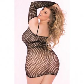 Bad Intentions Black Fishnet Dress - Queen 2 Product Image