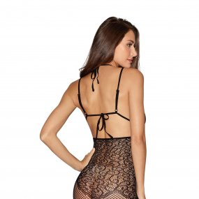 Black Lace & Fishnet Garter Dress with Neck Collar & Thigh Highs - Queen 2 Product Image