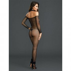 Black Fishnet Off the Shoulder Bodystocking w/ Attached Collar - Queen 2 Product Image