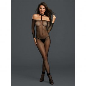 Black Fishnet Off the Shoulder Bodystocking w/ Attached Collar - One Size 1 Product Image