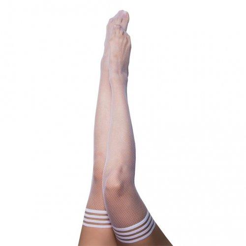 Kixies Sammy White Fishnet Thigh High - Size B 1 Product Image