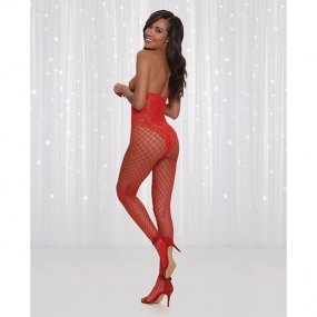 Lipstick Red Open Cup Open Crotch Bodystocking w/ Lace Design - O/S 2 Product Image