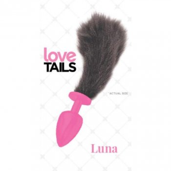 Love Tails: Luna Pink Plug with Short Black Tail - Small Image