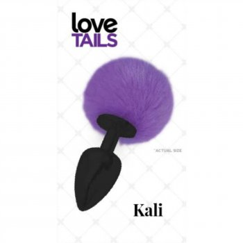 Love Tails: Kali Black Plug with Purple Pom Pom - Medium Image