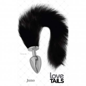 Love Tails: Juno Silver Plug with Long BlackTail - Large Image