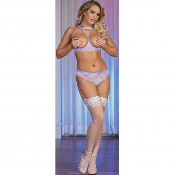 Exposed - Lavender Lace - Cupless Bra & Crotchless Panty Set - L/XL Image