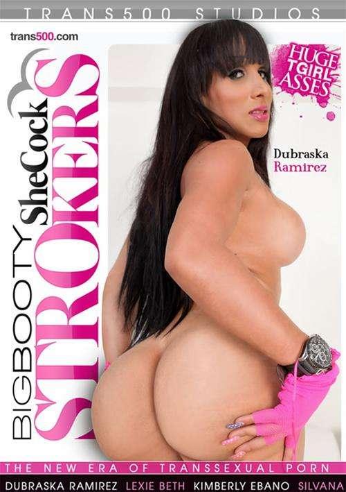 Pink Tranny Ass - Brunette Tranny Dubraska Ramirez Strokes Own Cock with Pink Gloves