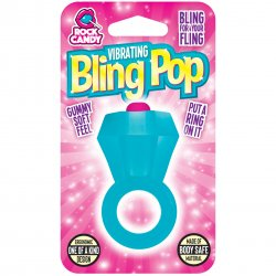 Rock Candy - Bling Pop Vibrating Ring - Blue Sex Toy