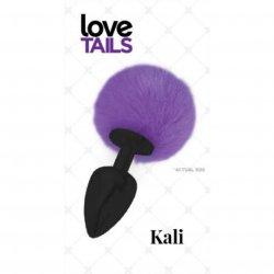 Love Tails: Kali Black Plug with Purple Pom Pom - Medium Sex Toy