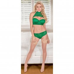 Exposed - Keyhole Bra with Removable Cups & Panty Set - Green - L/X Sex Toy