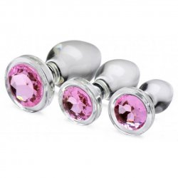 Booty Sparks Pink Gem Glass Anal Plug Set - Clear and Pink