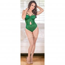 Exposed - Teddy with Removable Cups & Snap Crotch - Green - L/X