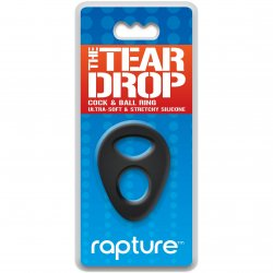 The Tear Drop Premium Silicone Cock & Ball Ring - Black Sex Toy