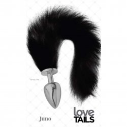 Love Tails: Juno Silver Plug with Long BlackTail - Large Sex Toy