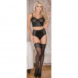 Exposed - Cropped Bustier & High Waist Panty Set - Black - S/M Sex Toy