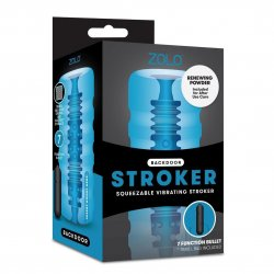 Zolo Backdoor Stroker - Squeezable Vibrating Stroker - Blue Sex Toy