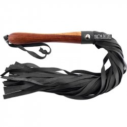 Rouge Wooden Handle Leather Flogger - Black Sex Toy