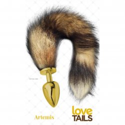 Love Tails: Artemis Gold Plug with Long Brown Tail - Large Sex Toy
