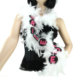 Flashing 6ft Bride To Be Party Feather Boa - White