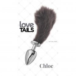 Love Tails: Chloe Silver Plug with Short Black Tail - Small