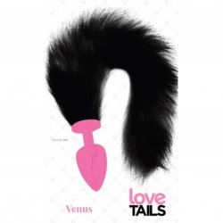Love Tails: Venus Pink Plug with Long Black Tail - Large Sex Toy