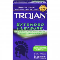 Trojan Extended Pleasure Premium Latex Condoms - 12 Pack Sex Toy
