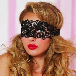 Lace Eye Mask with Satin Ribbon Ties - Black - O/S