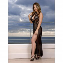 Exposed - Black Widow - Keyhole Cutout Gown & G-String Set - Queen Size