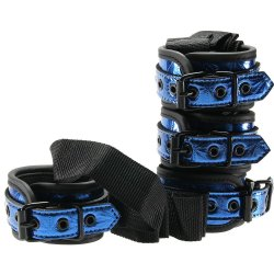 Whip Smart: Diamond Collection Bed Restraint Kit - Blue Sex Toy