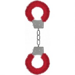 Ouch Beginner's Handcuffs Furry - Red Sex Toy