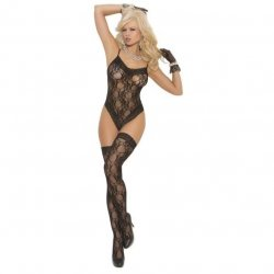 Lace Teddy and Matching Thigh Highs - O/S - Black Sex Toy