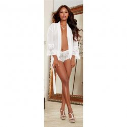 Chiffon & Stretch Lace Short Length Kimono Robe & Cheeky Panty - White - Small Sex Toy