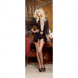 Chiffon & Stretch Lace Short Length Kimono Robe & Cheeky Panty - Black - Large