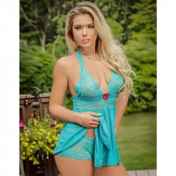 Exposed - Teal Bliss - Baby Doll & Short Set - S/M