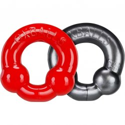 Ox Balls Ultraballs Cock Ring 2 Pack - Red & Steel Sex Toy