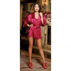 Charmeuse Short Length Kimono with Matching Chemise - Red - Medium